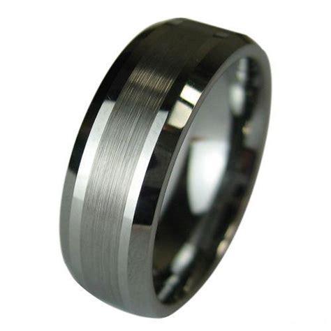 tungsten carbide wedding band mens ring titanium color