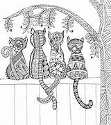 Coloring Fence Cats Mandala Adult Mandalas Printable Colouring Katzen Malvorlagen Zaun Adults Animal Sheets Favecrafts Einem Coloriage Einer Farbtonseite Shopkins sketch template