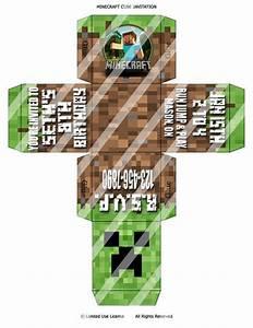 Surprise Birthday Invite Templates Custom Printable Minecraft 3d Cube Invitation Print As