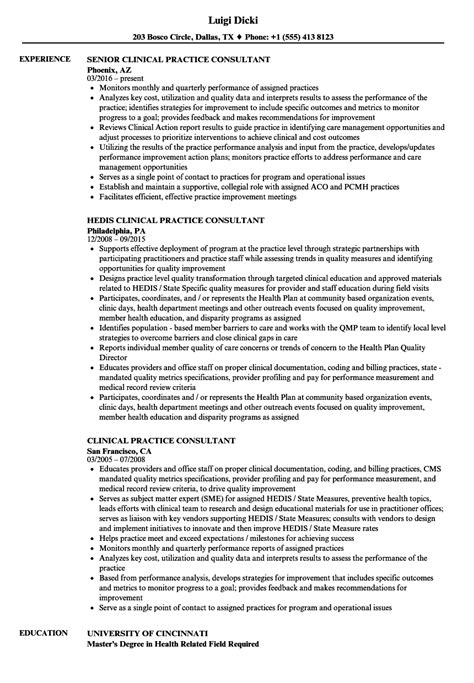 Practice Resume by Clinical Practice Consultant Resume Sles Velvet