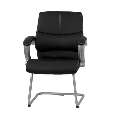 black leather executive side reception chair with silver