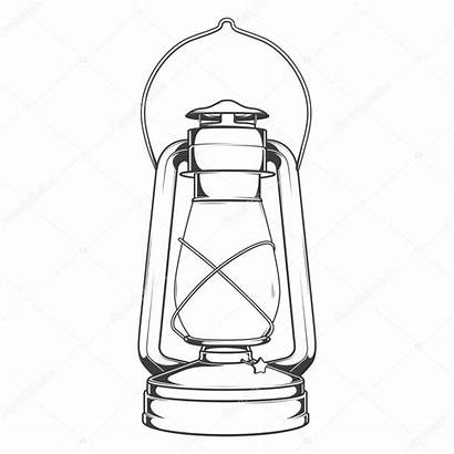 Lamp Oil Kerosene Vector Line Antique Illustration
