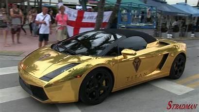 Lamborghini Gold Gallardo Chrome Beach South Accelerating