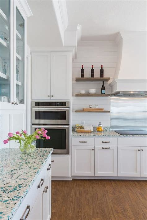 White And Turquoise Cottage Kitchen Design Ideas