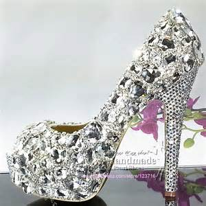 jeweled wedding shoes womens high heels glitter crystals platform peep toe jeweled silver wedding shoes in