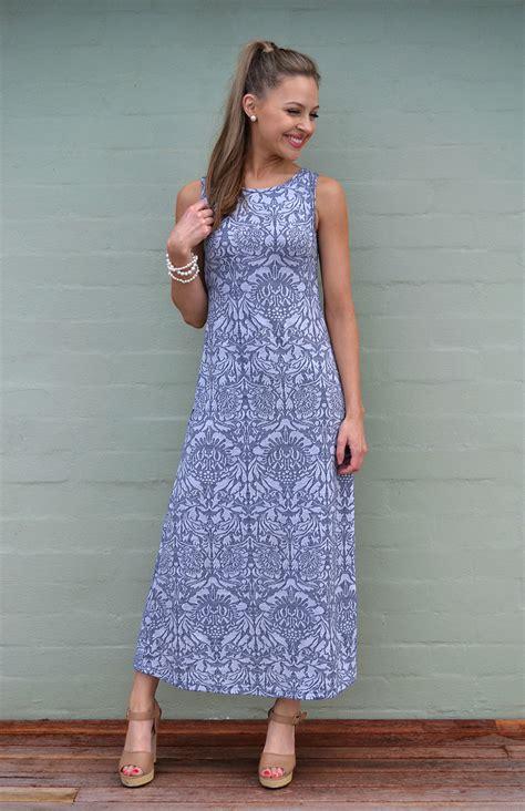 boat neck maxi dress womens blue grey floral long