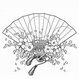Fan Japanese Hand Traditional Sakura Vector Coloring Drawing Decoration Clip Adults Floral Decorations Illustration Background Isolated Illustrations Getdrawings Line Clipart sketch template