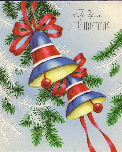 vintage christmas bells card front 1