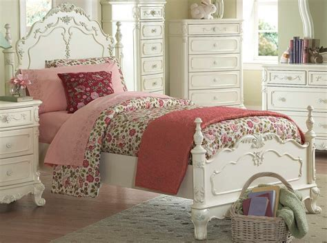 Dreamy Antique White Twin Youth Girl's Bed Bedroom