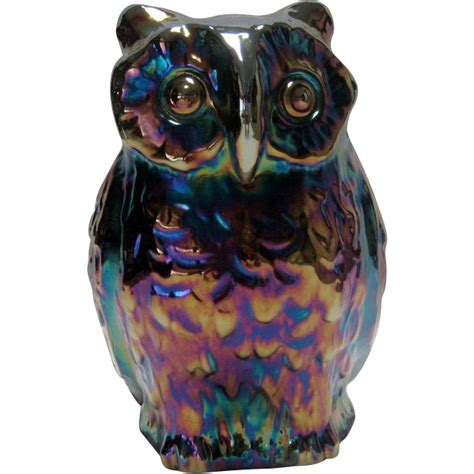 Fenton Owl L by Fenton Large Purple Carnival Owl 1971 From Thedaisychain