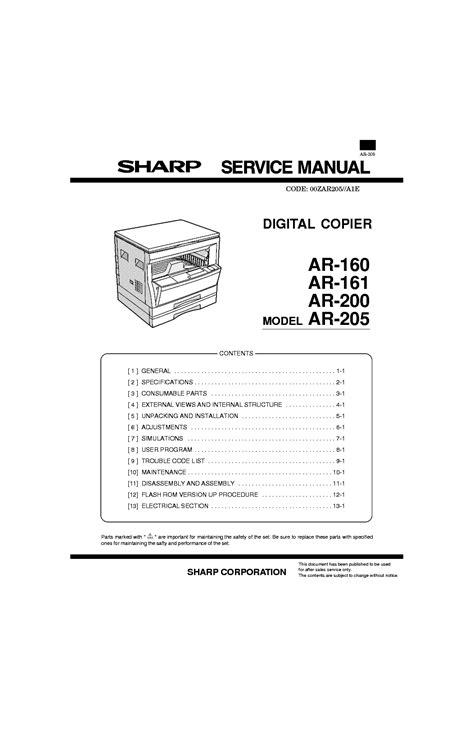 sharp ar 160 161 200 205 sm service manual schematics eeprom repair info for