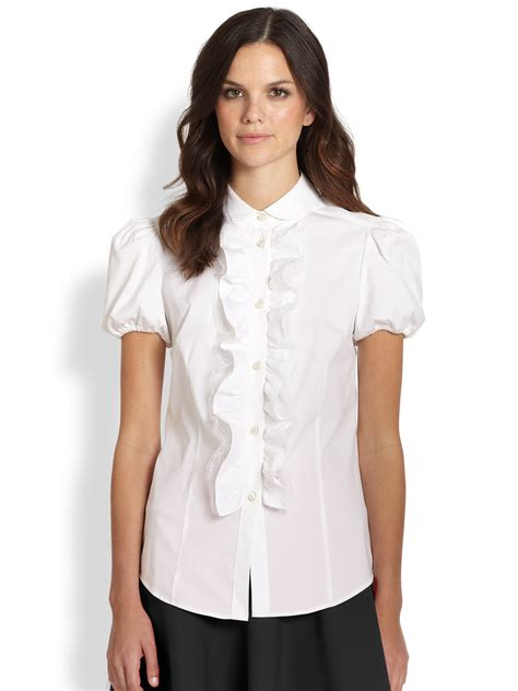 white blouse sleeve valentino poplin shortsleeve rufflefront blouse in