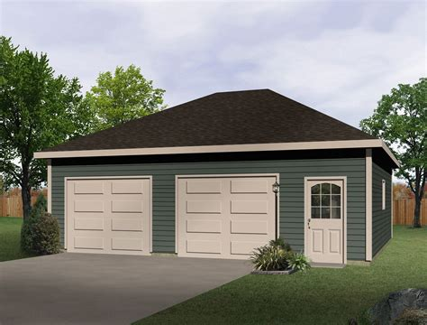 Hip Roof Drivethru Garage  22052sl  Cad Available, Pdf