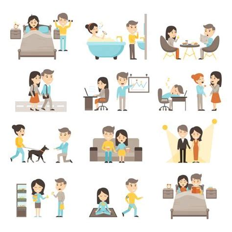 daily routine people set   vectors clipart