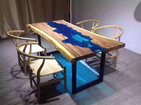 Custom Made Acacia Live Edge River Wood And Glass Dining