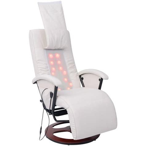 acheter vidaxl fauteuil de massage shiatsu demi pu blanc