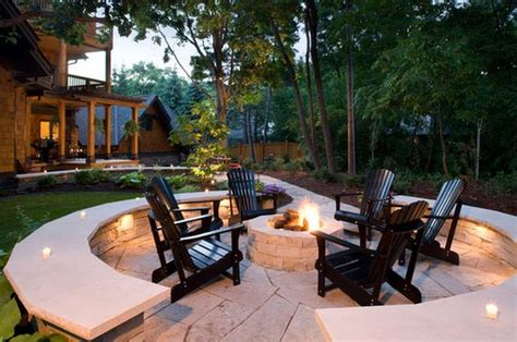 chairs around pit combine adirondack chairs with modern elements for a
