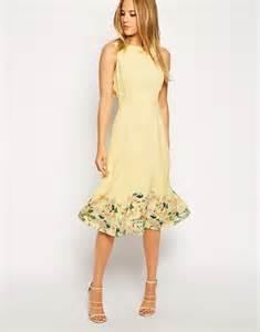 midi dresses for wedding guest asos midi dress in botanical border print in yellow lyst