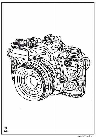 Camera Coloring Adults Pattern Patterns Zentangle Adult