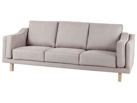 canapé cabb canapé fixe 3 places coloris gris clair pas cher