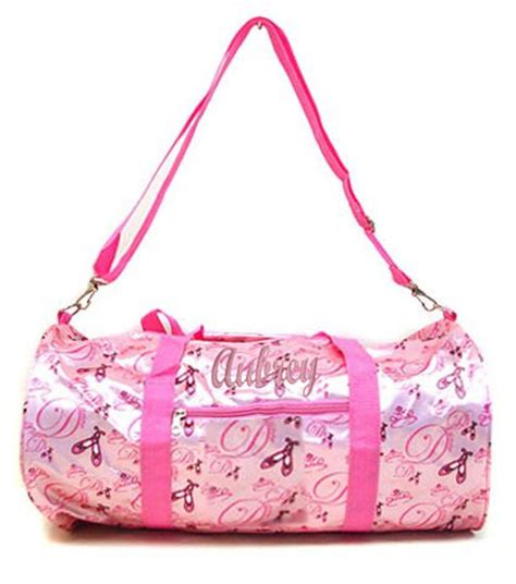 personalized dance ballet print duffel pink satin gym bag