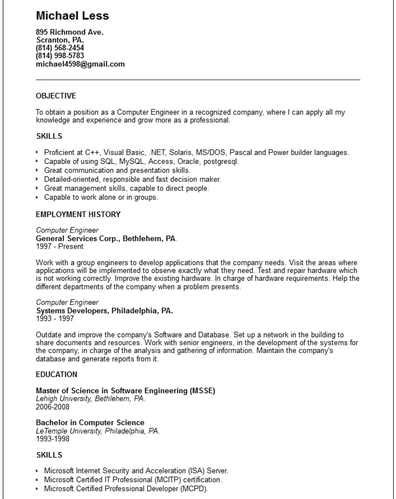 Engineering Resume Exles 2012 by Computer Engineer Resume Exle