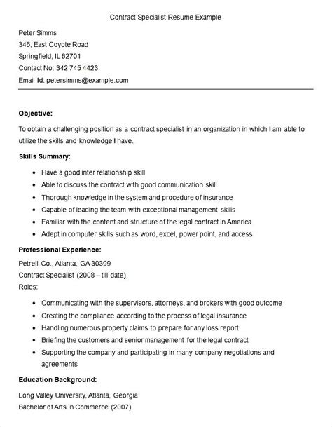 Resume Contract Work by Sle Contract Specialist Resume Template Free Sles Exles Format Resume