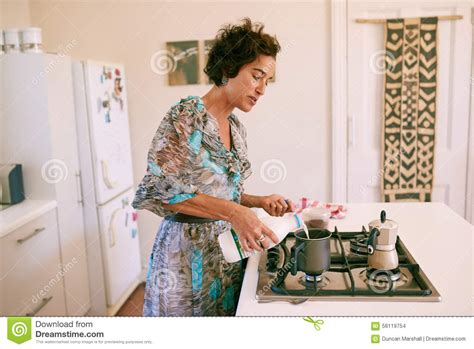 Mature Woman Busy Making Her Morning Cup Coffee Home