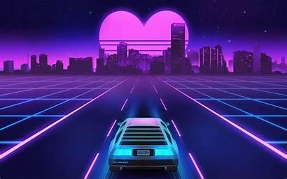 Delorean Vaporwave Sunset 1980s Shape Heart Wallpapers