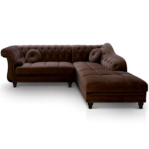 canapé chesterfield angle canapé d 39 angle brittish velours marron style chesterfield