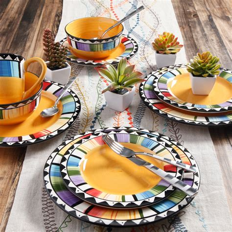 dinnerware gibson mexican yellow plate stoneware fiesta piece dishes dinner casual dish ware fandango dining plates microwave kitchen walmart serving