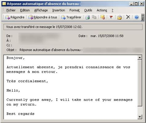 exemple message absence bureau exemple message r 233 pondeur humour