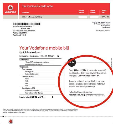 vodafone  charging extra  pay bill