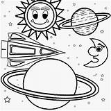 Solar Coloring System Pages Space Print Planets Children Galaxy Easy Outer Printable Planet Drawing Craft Ship Printables Cartoon Moon Star sketch template