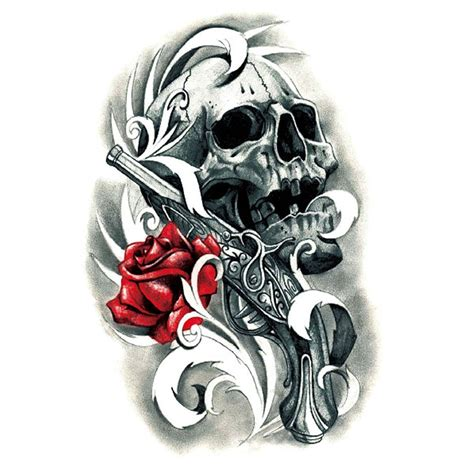 yeeech temporary tattoos sticker  women men sexy fake large skull gun rose black red designs