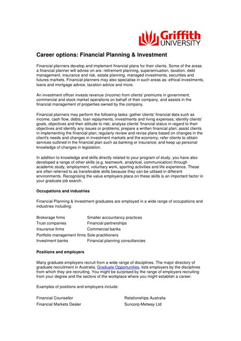 career options financial planning