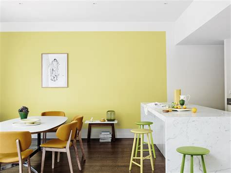 modern dining room with yellow feature wall inspirations