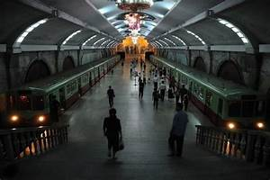 A grand looking underground station - Pyongyang, North ...