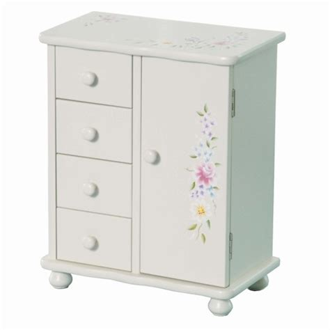 Little Girls Wooden Jewelry Armoire, White, Handpainted