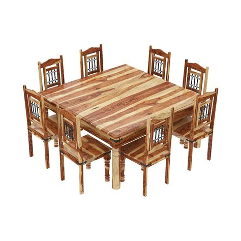 11 Dining Room Set by Peoria Rustic Solid Wood 11 Square Dining Room Set