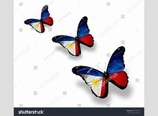 Three Philippine Flag Butterflies Isolated On Stock