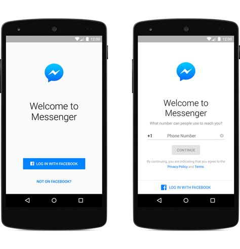 login account mobile number sign up for messenger without a account