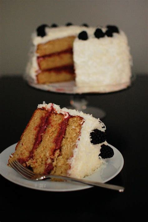 Blackberries Coconut Almond by Coconut Almond Cake With Blackberry Lime Curd Filling Via