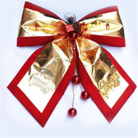 large gold christmas bells 32 36cm large gold cloth bow with bells