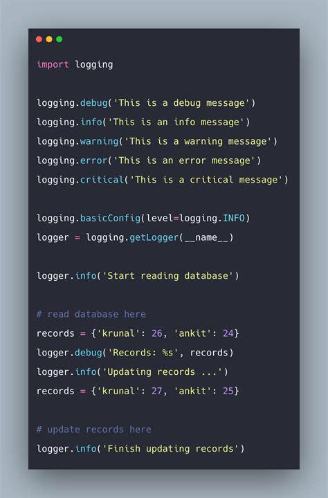 python logging  logging  python tutorial
