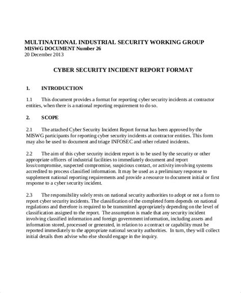 sample security incident reports  word pages