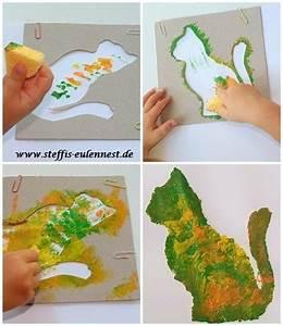Malen Mit Kindern : basteln mit kindern schwammtechnik katze basteln malen tupfen basteln f r kinder tiere ~ Orissabook.com Haus und Dekorationen