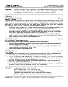 test manager resume template exle information technology test manager resume sle