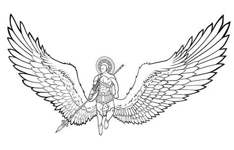 wings angel drawing line deviantart valor drawings male flying getdrawings