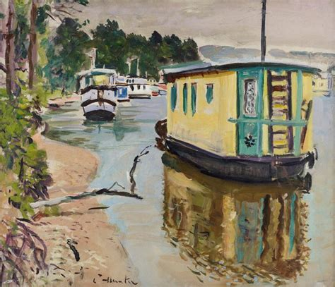 Houseboat Scotland by File George Leslie Hunter 1877 1931 Houseboats Balloch